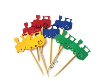 Train Toppers - Primary Colors Large Train Cupcake Toppers- Red, Green, Yellow & Blue Train Food picks or CHOOSE YOUR COLORS