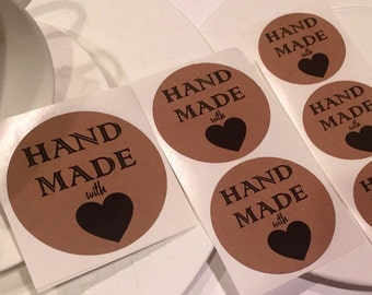 "Handmade with Love Kraft Stickers 2""-2.5""-3"" Sizes Available Kraft Stickers Made with Love Stickers Kraft Labels"