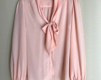 1980s Pink Ascot Blouse MD