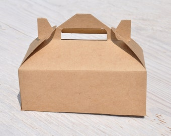 50 Medium Kraft Gable Boxes 8x4x3 Brown Natural Favor Box