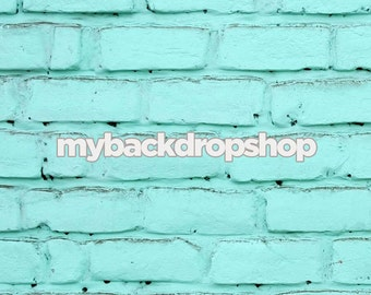 2ft x 2ft Turquoise Blue Brick Wall Background for Product Photography - Brick Backdrop or Floor Drop Prop for Product Shots- Item 421