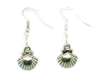 Silvertone Seashell Charm Earrings