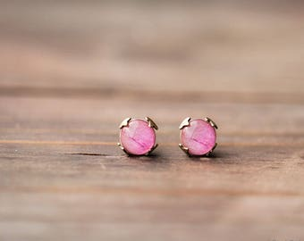 Pink Peony tiny stud earrings, Pink earrings bridesmaid gift, Peony jewelry, Pink tiny studs, Peony studs, Blush wedding, Pink flowers studs