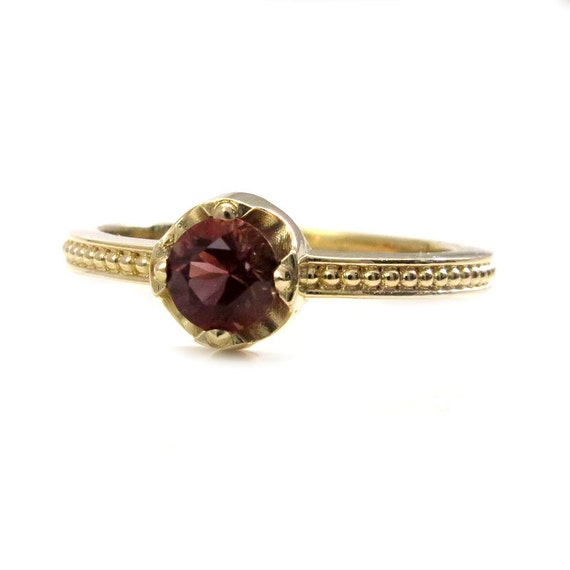 Victorian Styled Oregon Sunstone Solitaire - 14k Yellow Gold Handmade Engagement Ring