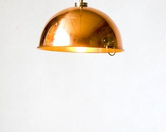 "Copper mixing bowl pendant lights (9"")"