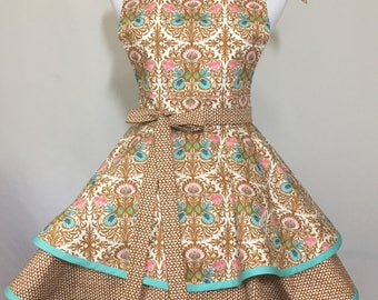 Gorgeous Amy Butler Fabric Two Tiered Twirly Apron