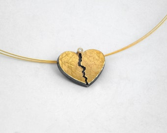 A gold and oxidized silver heart pendant with a diamond and a hammered surface, Valentine's day gift, Textured jewelry, Heart pendant