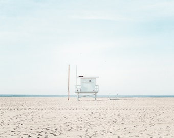 Santa Monica Beach Photography, Lifeguard Tower, Large Wall Art, Los Angeles Beach Print, Coastal Seascape, California Beach Art, Baby Blue