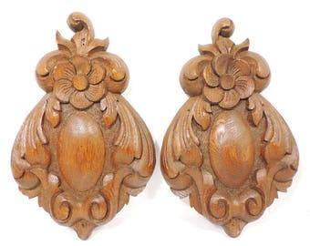 Set of 2 Vintage Decorative Wood Wall Ornaments
