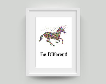 Be Different, Be a Unicorn Wall Art   Printable Instantly Downloadable Art   Unicorn Printable A4