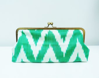 Clutch bag, green and cream silk ikat design, evening purse