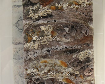 TEXTILE ART, EMBROIDERY - 'On the rocks' , embroidered art, fibre art.