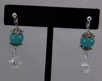 Turquoise And Clear Crystal Dangle Pierced Earrings