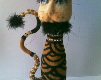 OOAK Needle Felted Cat Twiggy Couture