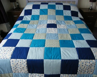 Handmade Blue and Floral Diamond design Patchwork Quilt. Sofa Throw. Blanket. (to fit double or kingsize bed ).