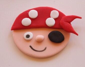 12 Fondant cupcake toppers--friendly pirates