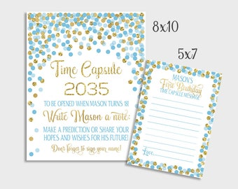 1st Birthday Or Baby Shower Time Capsule Sign Blue and Gold Confetti Birthday Party Time Capsule Sign & Message Cards 1st Birthday Party