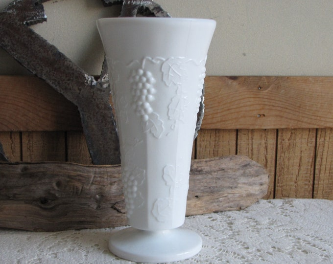 Vintage Milk Glass Tall Paneled Grape Vase Florist Ware and Bouquets