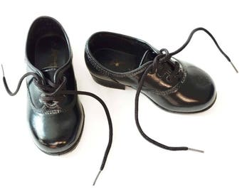 Black Leather Dressy Shoes Girl Toddler Dance Shoes Black Size 5 Low Heel Ameri Kids Black Shoes with Laces Tie Up Shoelaces
