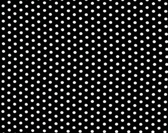 Black and White Tiny Dot Fabric - Spot On from Robert Kaufman. White Dots on Black.  100% cotton. EZC-12873-2