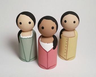 The Schuyler Sisters Wooden Peg Dolls