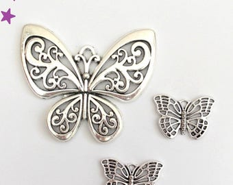 57 and 26 mm Butterfly mixed 3 charms: silver-plated ref PX
