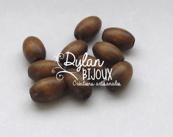 10 oval wooden beads / olive brown Nail Polish 10 x 16 mm