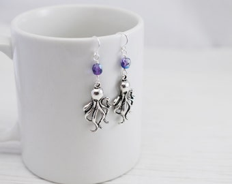 Octopus Earrings, Charm Earrings, Purple Earrings, Silver Charm Earrings, Squid Earrings, Beach Jewelry, Gift for Her, Sea Life Earrings