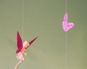 Mobile 3 fairies fuschia and rose wood and handmade paper