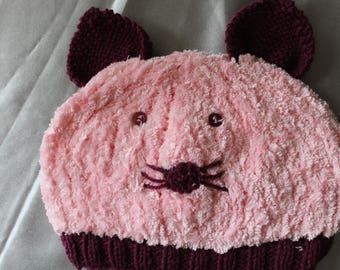 hand knitted pink fancy Hat