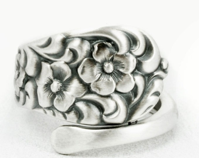 Spoon Ring Rare Antique Forget Me Not Floral Sterling Silver Ring, Dominic and Haff Rococo ca 1888, Handmade, 925 Adjustable Ring Size, 7108