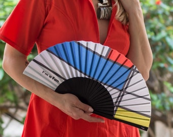 FOLDING HAND FAN | Mondrian inspired print | blue red yellow | unique gift for her | fashion accessories | Free Shipping Worldwide