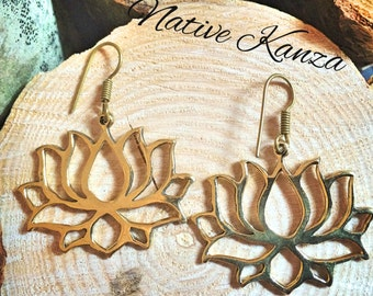 Louts flower brass earrings,Tribal Brass Earrings, Indian Earrings, Brass Tribal Earrings, Ethnic Earrings, Brass Gypsy Earrings,