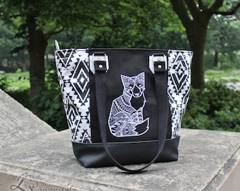 Shopper Fox, shoulder bag, imitation leather, leather, embroidery