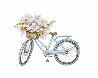 Flowers in Blue Vintage Bicycle, Springtime Print, Original Art Print, 8x10