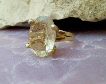 SALE! Oval gold ring,golden rutilated quartz,gemstone ring,Prong ring,large rings,wedding gift,bridal jewelry