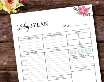 2017 Daily Planner Insert Printable, Filofax Daily Planner, Daily Planner Notebook, Daily Planner Pages, Daily Planner Insert, A5/A4/Letter