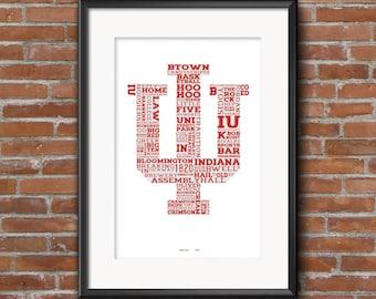 Indiana University -- College Town, IU, Hoosiers -- 11x17 Typography Print