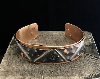 Cuff Bracelet, Copper and Patinated Bronze, Oxidized, Hammered, Unisex