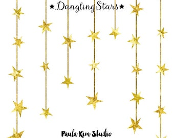 Dangling Gold Star Clipart, Gold Foil Clip Art, Commercial Use Wedding Invitation Clipart, Instant Digital Download