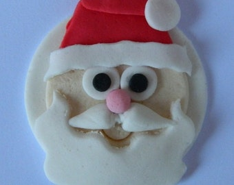 12 edible CHRISTMAS SANTA FACES cake cupcake decoration novelty topper cute gift xmas party birthday holiday cookie