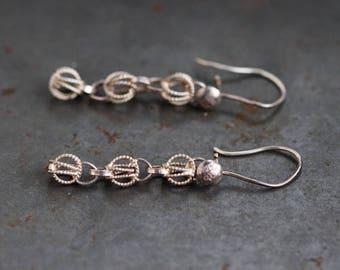 Silver Dangle Earrings - Filigree Spheres - Sterling Silver - Vintage Oxidized Boho Jewelry