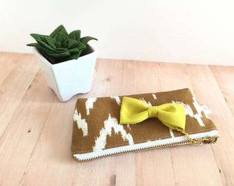 western sunglass holder, tampon case, tampon holder, sunglass case, brown tampon holder, zipper pouch, yellow bow, brown and white pouch