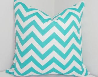 OVERSTOCK SALE Pillow Aqua Blue & White Chevron Zig Zag Pillow Cover 16x16
