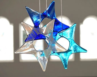 Fused glass stars set of 3, blue glass stars, winter colors glass art, winter window decor, fused glass window decoration, Mother's Day gift