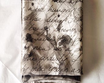 Personalized Handwritten Lyric and Poetry Scarf, Custom Text, Handpainted in Custom Colors
