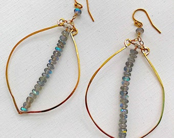 Labradorite Leaf Hoop Earrings
