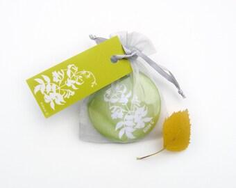 Pocket Mirror - Lime Green Bignonia Botanical Papercut Design