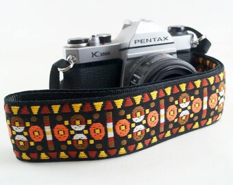 Aztec Geometry Hippie Weave Camera Strap- Orange and Rust