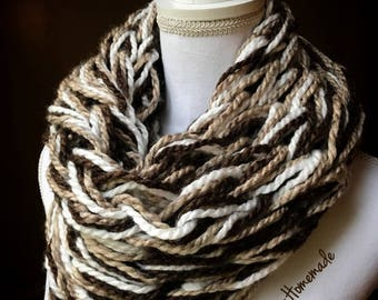 Super Chunky Arm Knit Infinity Cowl Scarf in Heathered Brown, White Mist and Sandstone